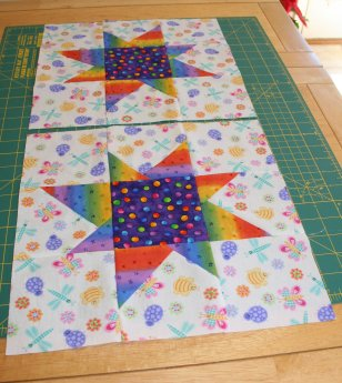 Two Wonky Star Quilt Blocks