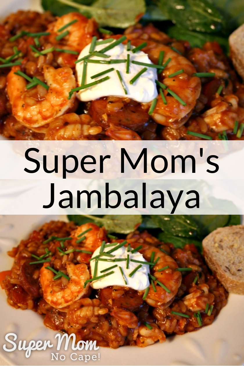 Super Mom's Jambalaya served with a dollop of sour cream and topped with chopped chives