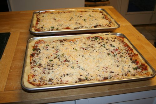 Pizza ready to go in oven