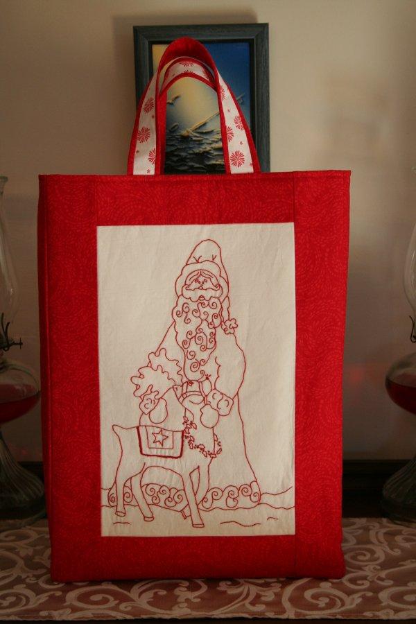 Redwork gift bag