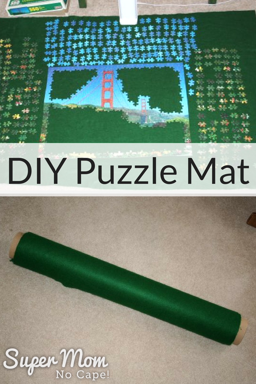 Jigsaw puzzle being built on a DIY puzzle mat and then shown rolled up in the puzzle mat
