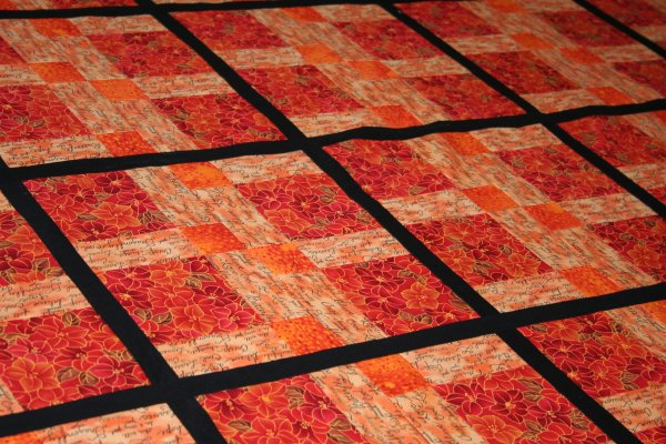 Close up of Disappearing Nine Patch Quilt