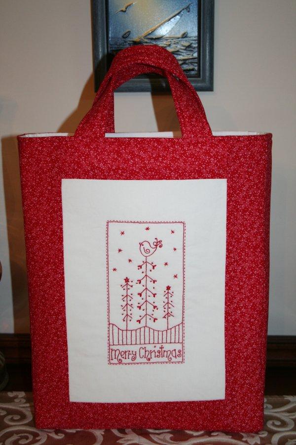 Redwork Gift Bag 3