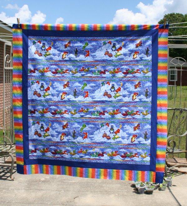 Flying Zebra Baby Quilt Top