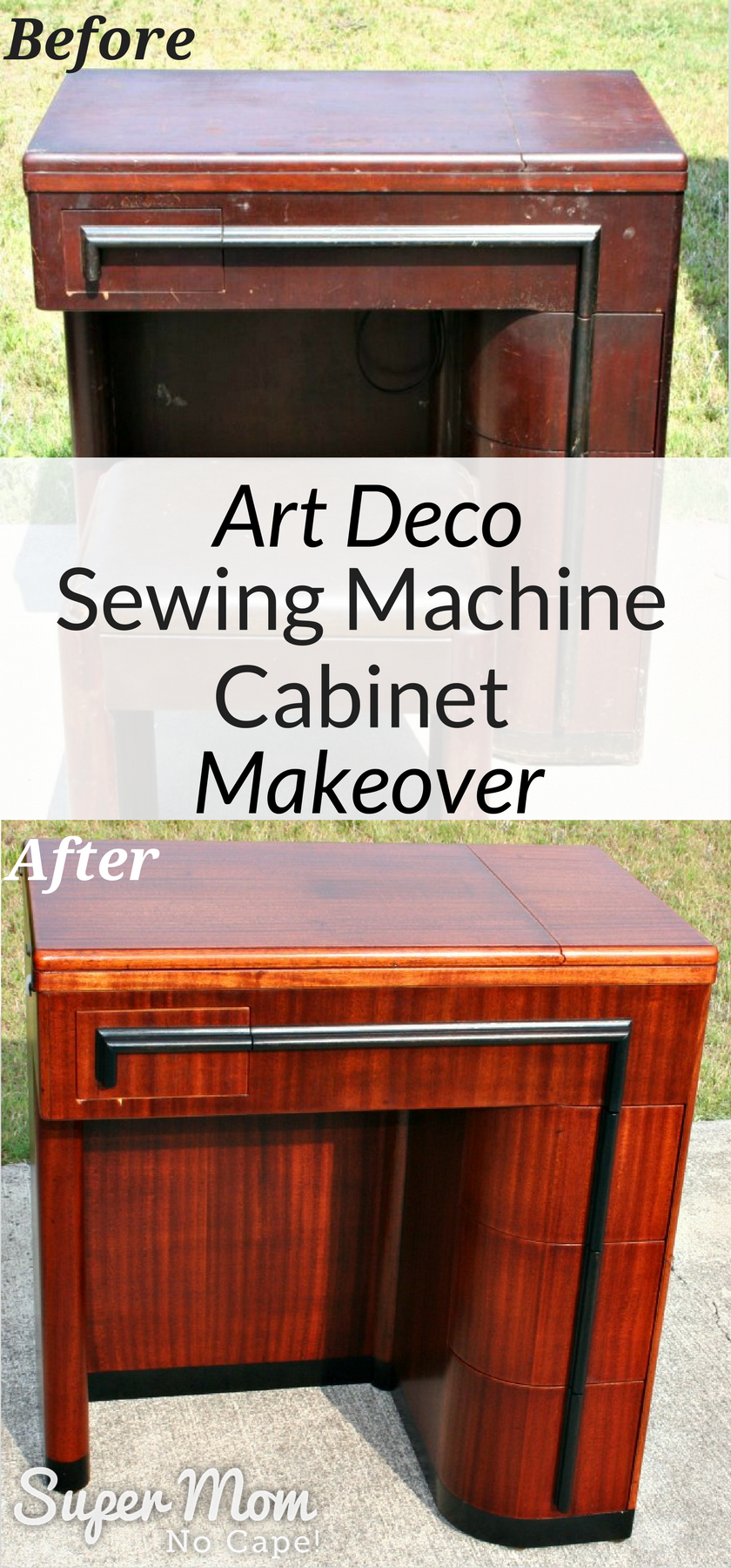 Before and After photos of the Art Deco Sewing Machine Cabinet