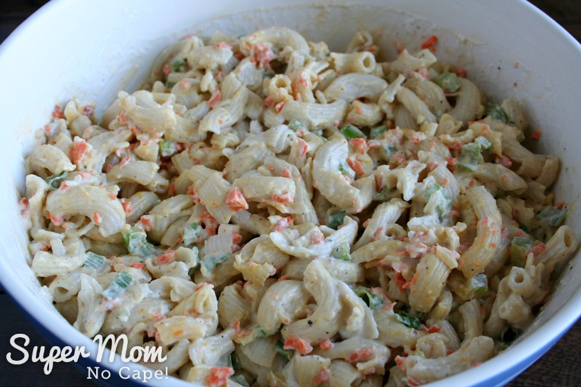 Hawaiian Macaroni Salad - after the addition of chopped carrots, green onion and celery