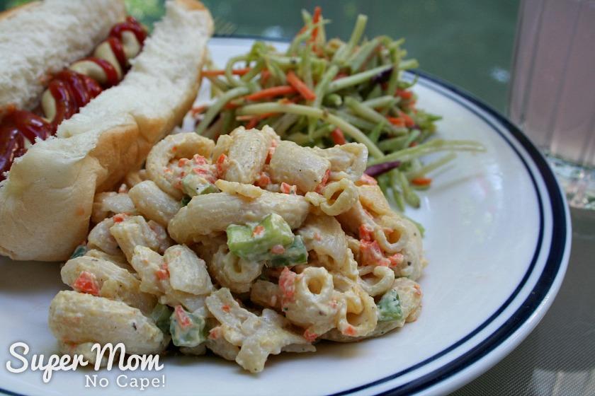 Hawaiian Macaroni Salad - served with hot dog and broccoli slaw