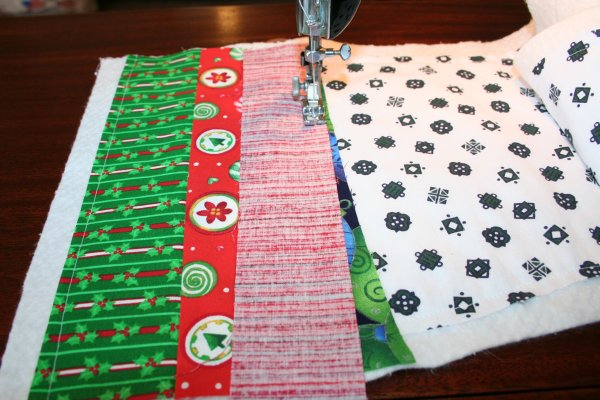 Sew some at an angle for added interest