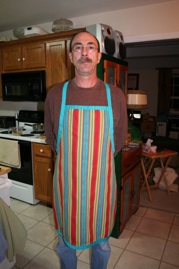 Dave modeling butcher's apron