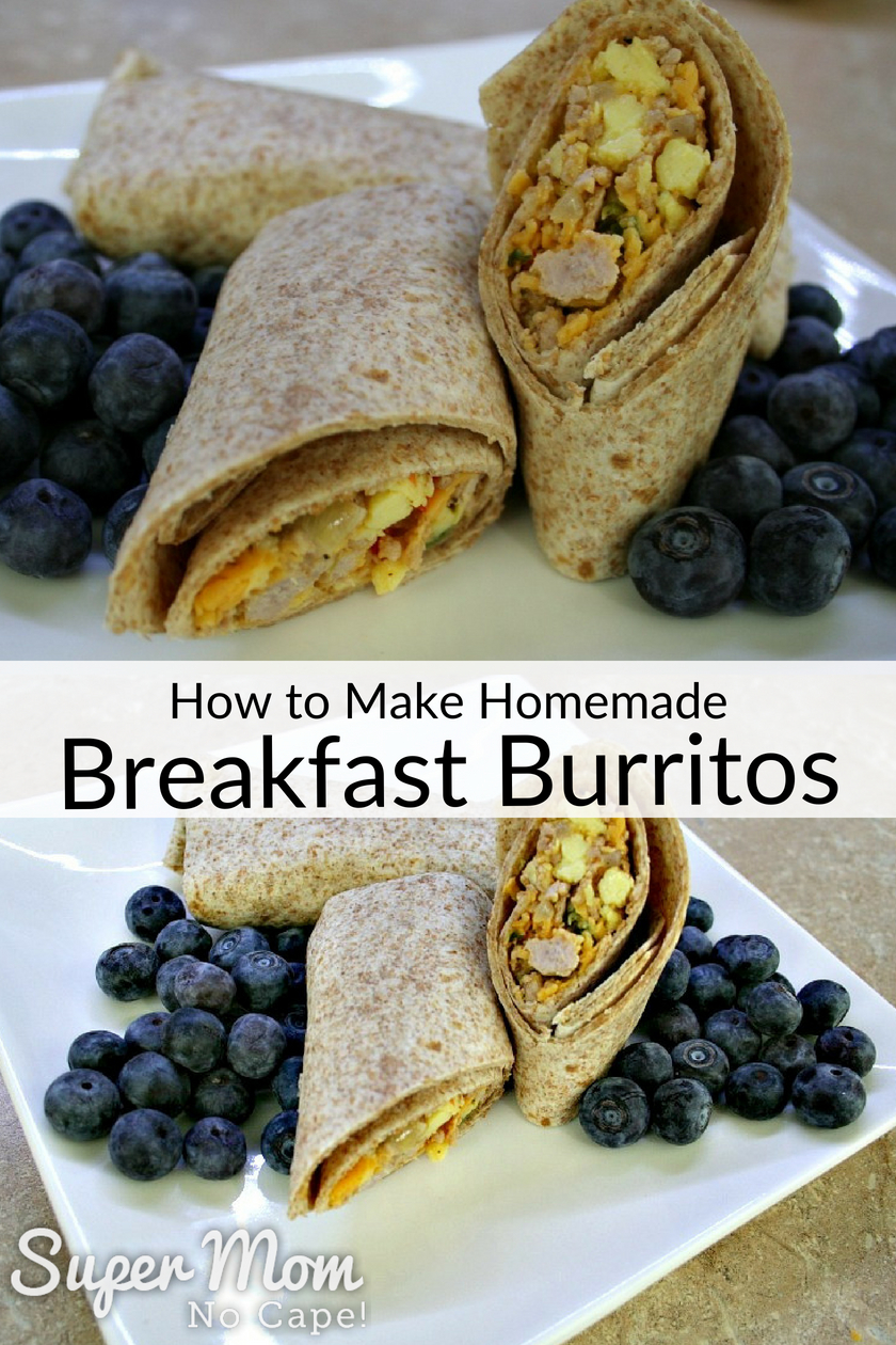 Collage photo of Homemade Breakfast Burritos served with blueberries on a white plate