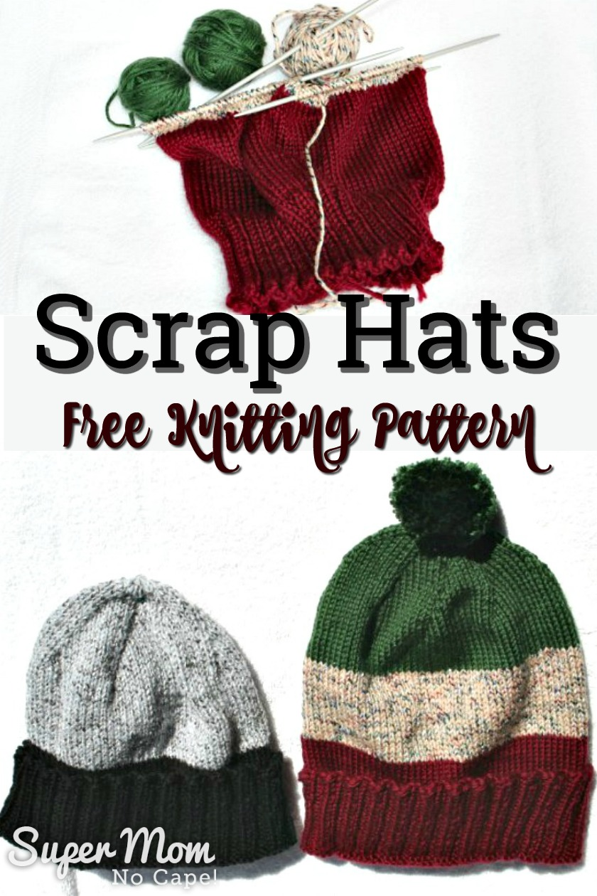 Collage of hat being knitted and balls of yarn and photo of two finished scrap hats