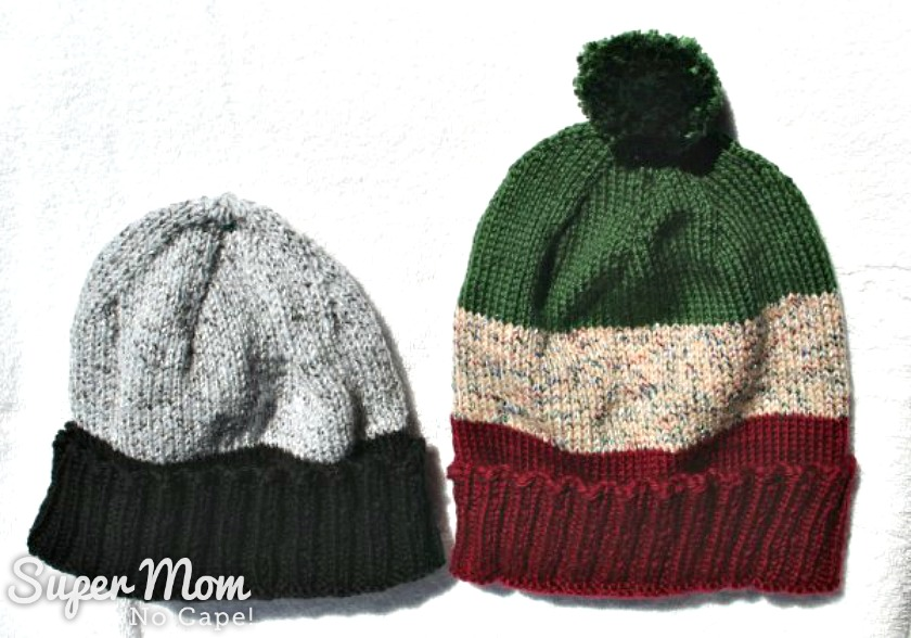 Two hats knitted from scraps of leftover yarn