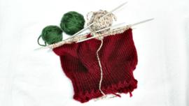 Scrap Hats Knitting Pattern - tri-color scrap hat in progress.