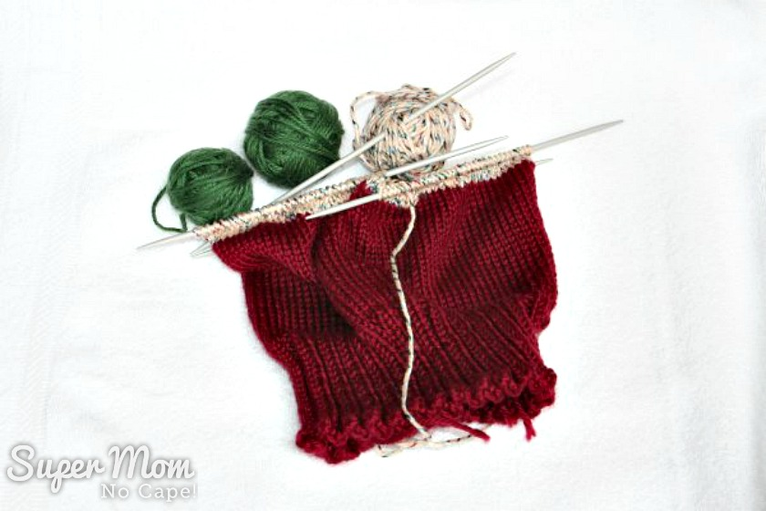 Scrap Hats Knitting Pattern - scrap hat in progress
