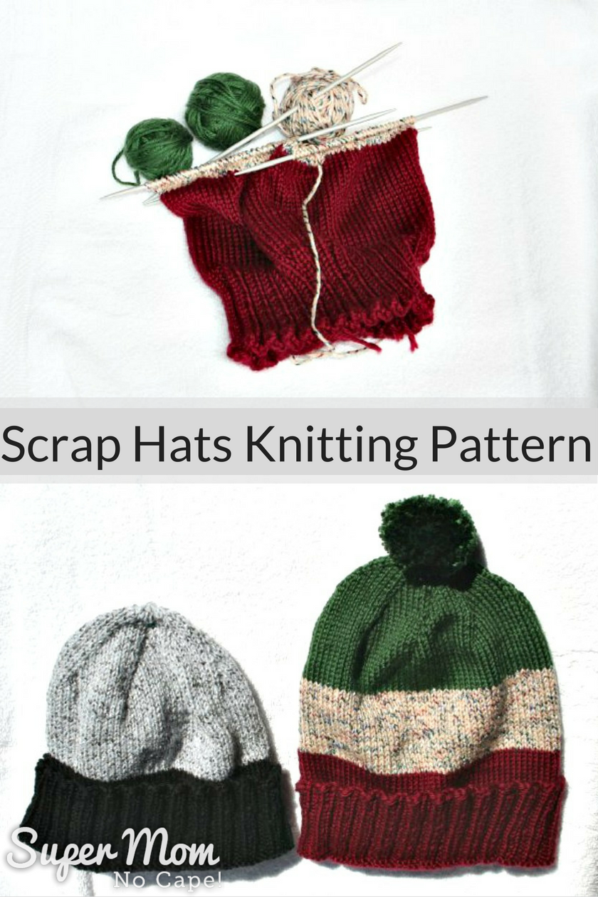 Scrap Hats Knitting Pattern to use up leftover yarn
