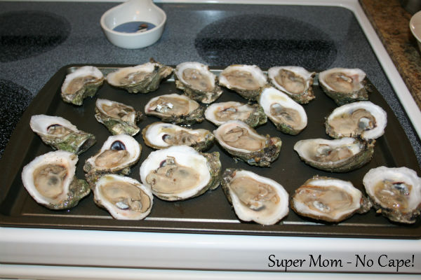 Here they are shucked and almost ready for baking.