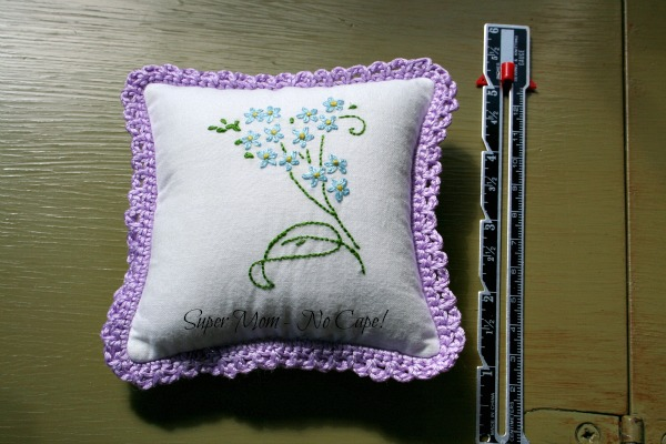 Back of Purple Butterly Embroidered Sachet