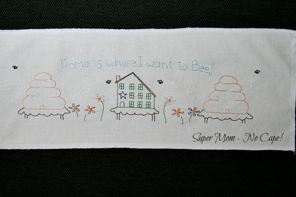 Home is Where I Want to Bee embroidery