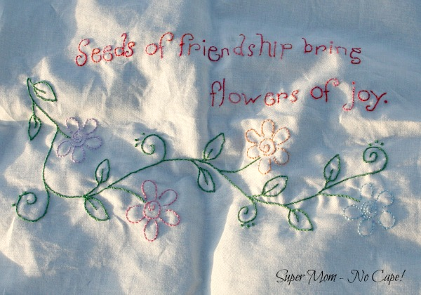Close up of finished Seeds of Friendship embroidery