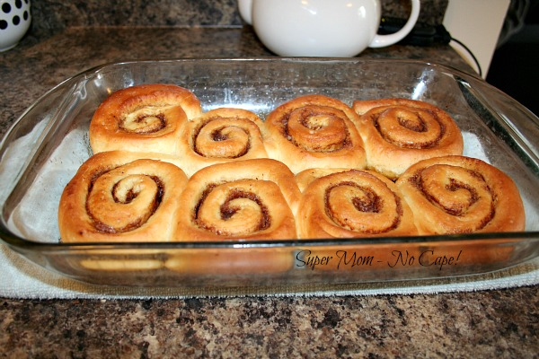 Overnight Cinnamon Rolls in Glass Baking Dish