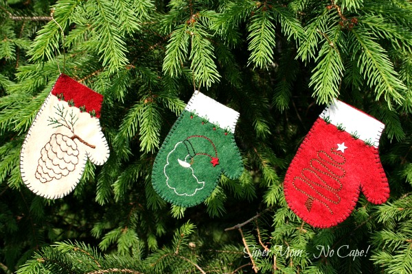 Embroidered Felt Mitten Ornaments