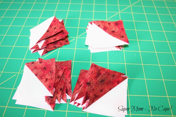 Photo of 32 half square triangles
