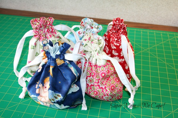 Fabric Gifts Bags filled with toiletries