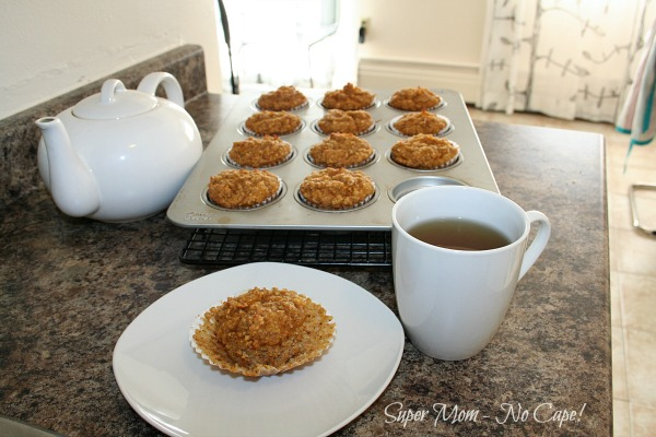 Photo of Gluten Free Pumpkin Muffins served with a cup of tea