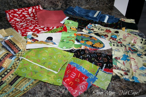 Photo of lots of quilt fabric scraps