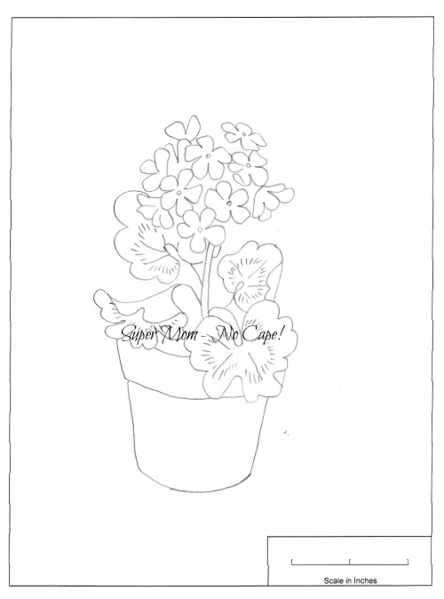 Embroidery Pattern from Workbasket Page No. 78 - Geraniums in a Pot