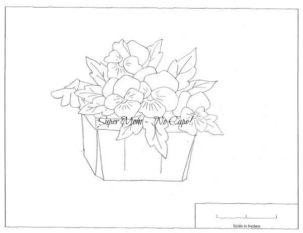 Vintage Workbasket embroidery pattern page 78 - Pansies in a box