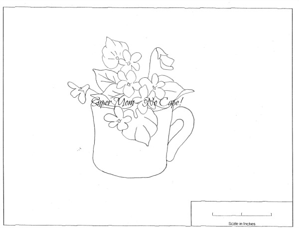 Vintage Workbasket Embroidery pattern for Violets in a Mug from Pattern Page No 78
