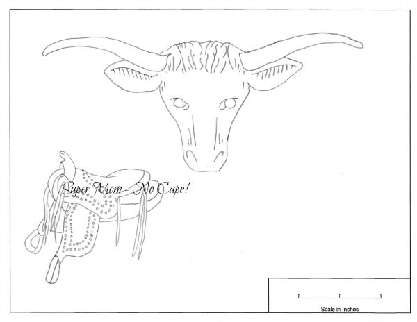 Vintage Workbasket Embroidery Pattern for a bull and saddle from Page 79