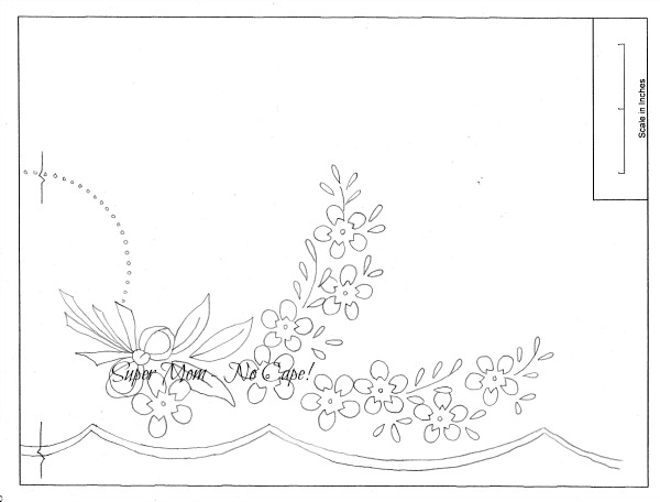Vintage Workbasket embroidery pattern for right half of a pillow slip from Page 80