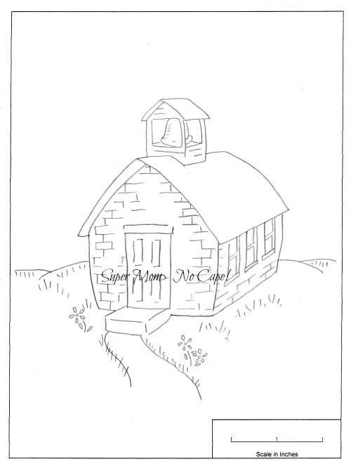 Vintage Workbasket Embroidery Pattern of a School house from Pattern Page 80