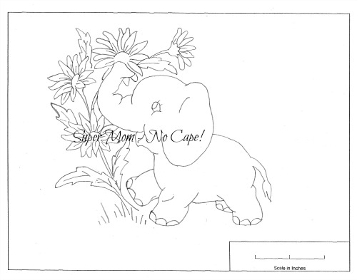 Vintage Workbasket embroidery pattern for elephant and painted daisy from pattern sheet 81