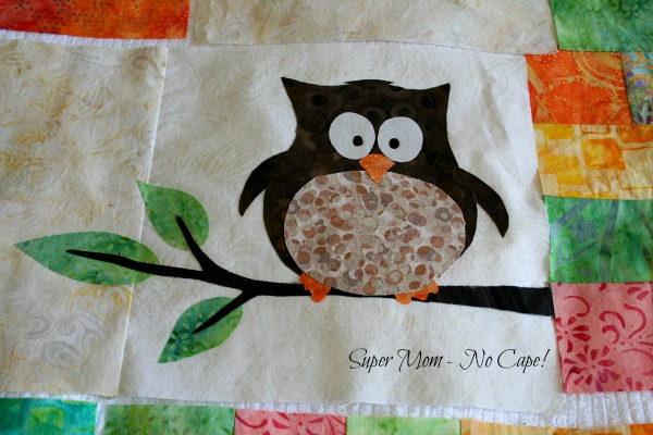 Applique owl for One Big Cabin quilt