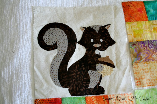 Applique squirrel for One Big Cabin quilt