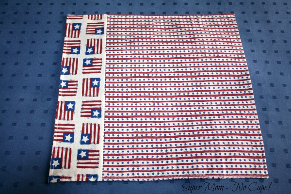 Reverse side of 4th of July napkin made from scraps