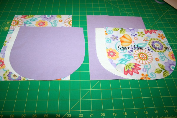 Photo of all the pieces cut out for two drawstring bags