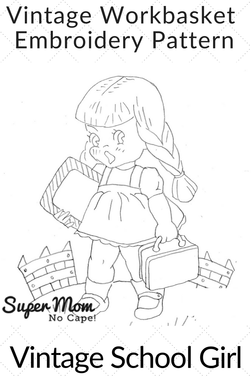 Vintage School Girl Embroidery Pattern - Vintage Workbasket Embroidery Pattern