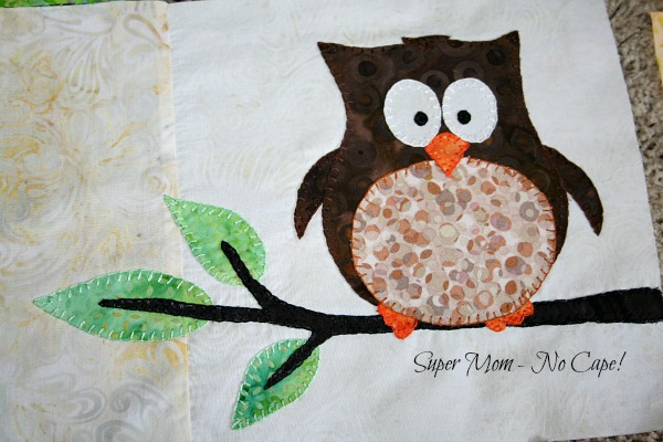 blanket stitched owl applique block for one big cabin quilt