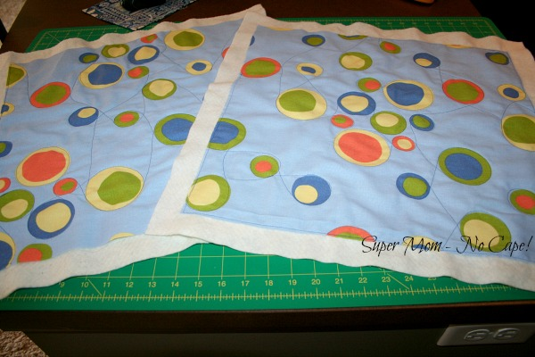 Two pillow tops with improv quilting