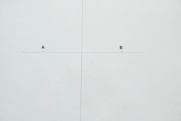 Mark on either side of center line and label A and B