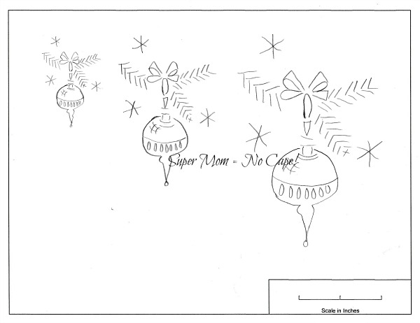 Vintage Christmas tree ornament pattern in three sizes