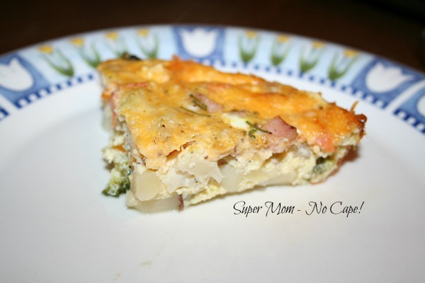 A slice of delicious crustless quiche