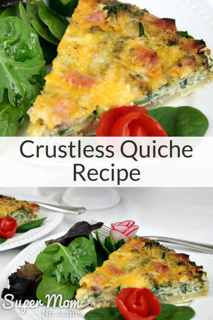 Collage photos of Crustless Quiche served with salad on white plates