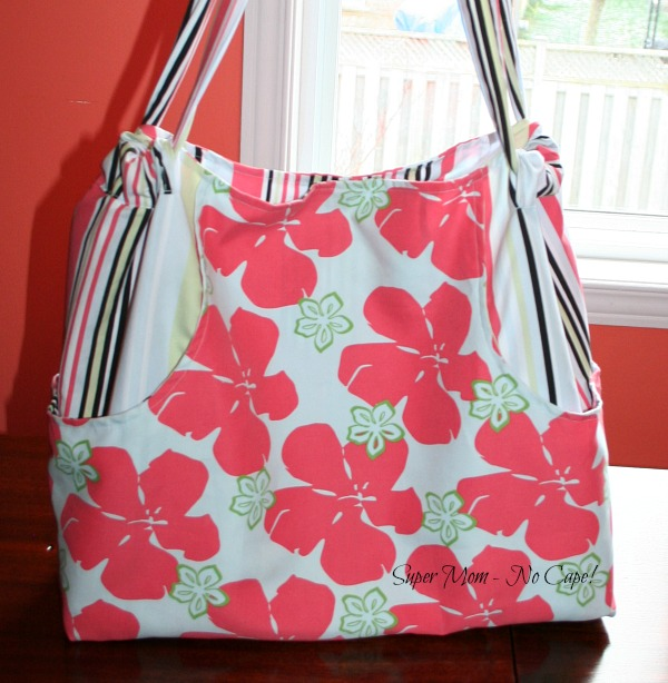 Tote Bag made with Hibiscus print fabric
