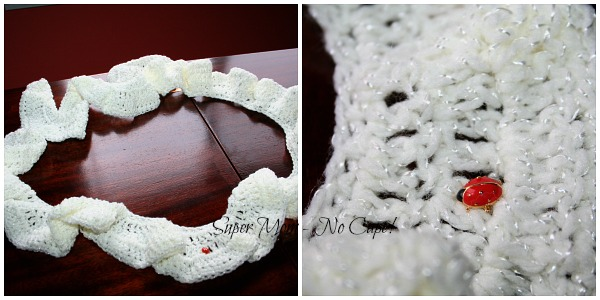 Crocheted scarf with ladybug pin