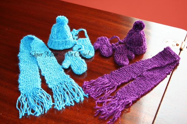 Blue and Purple Mini Mittens, Hat and Scarf Sets